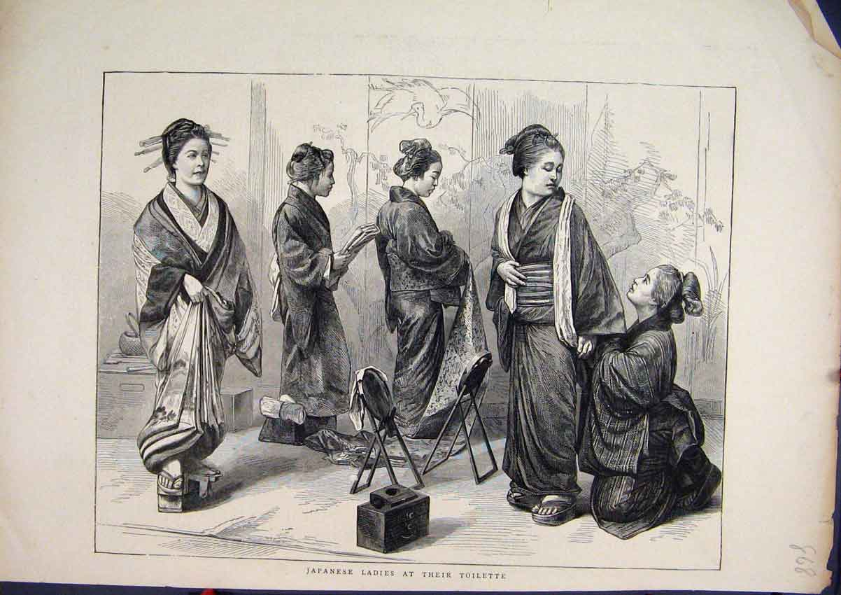 Print 1871 Japanese Ladies Toilette Dressing 68Mar1 Old Original