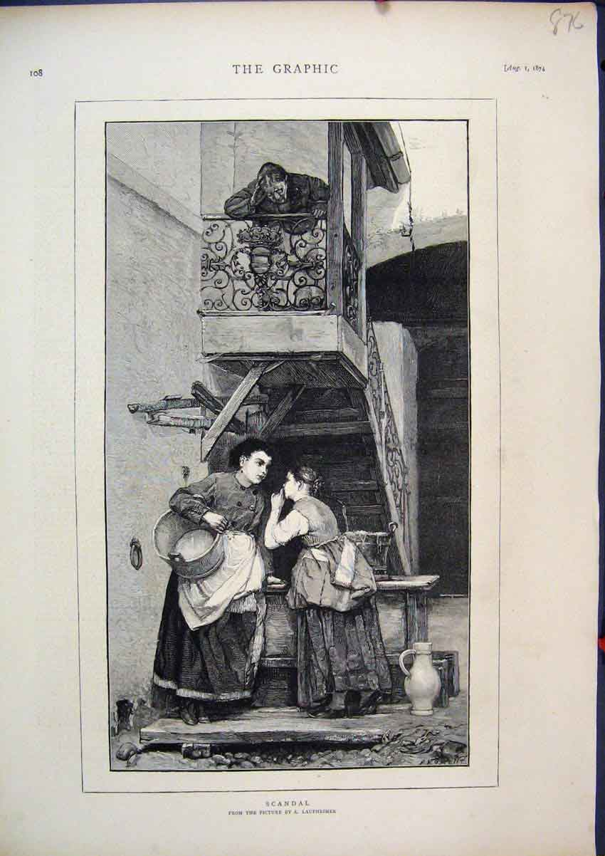 Print 1874 Woman Gossip Scandal Man Listening Upstairs 76Mar1 Old Original