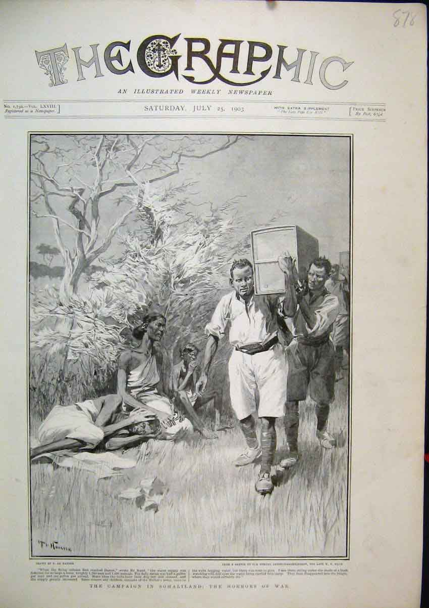 Print 1903 Campaign Somaliland Horrors War Injured Sketch 78Mar1 Old Original