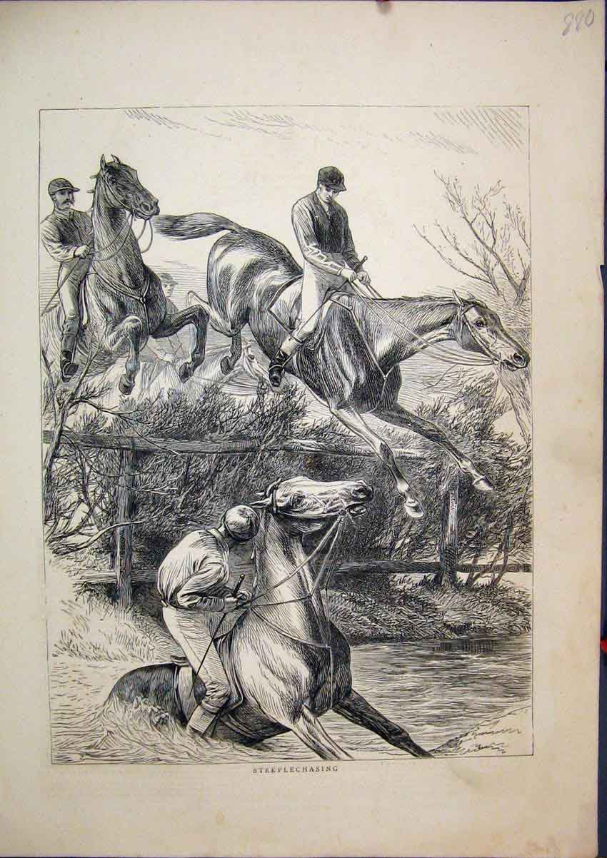 Print 1871 Horses Steeplechasing Jumping Fences Falling 80Mar1 Old Original