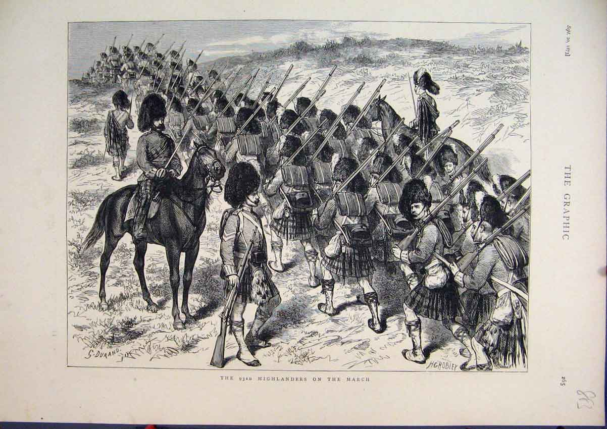 Print 1873 Scottish Highlanders Soldiers Marching Horses 83Mar1 Old Original