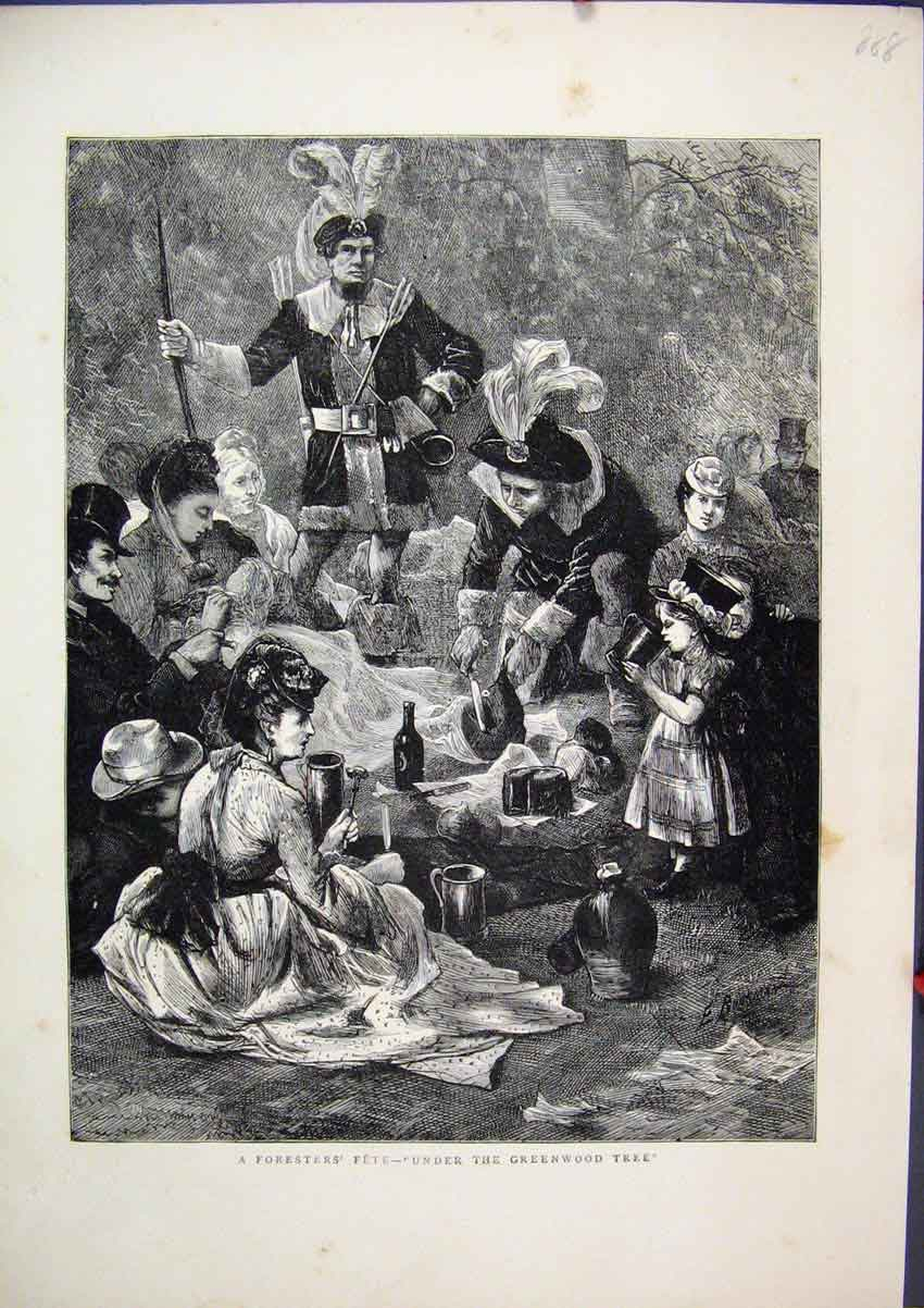 Print 1871 Foresters Fete Under Greenwood Tree Picnic Drinks 88Mar1 Old Original