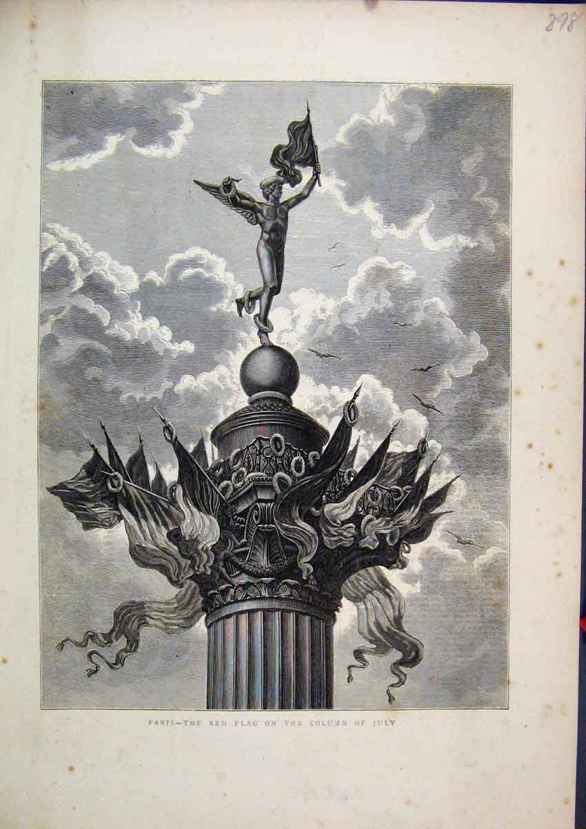Print Paris France 1871 Red Flag Column July Statue 98Mar1 Old Original