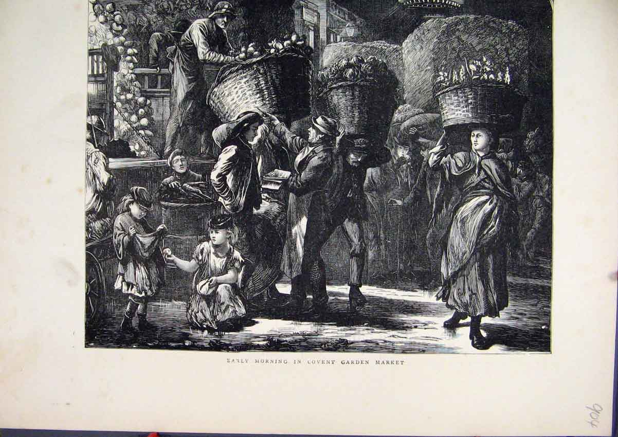 Print 1871 Early Morning Covent Garden Market Fruit Basket 04Mar1 Old Original