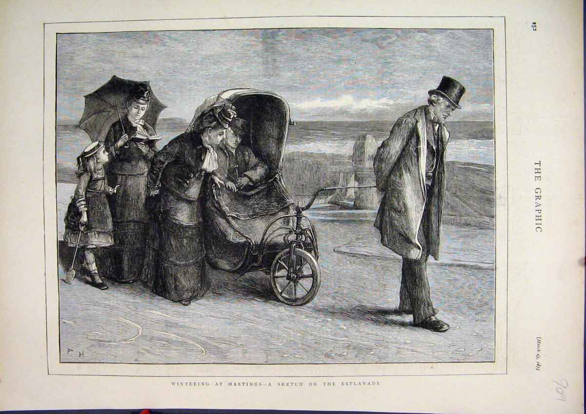 Print 1873 Winter Hastings England Family Beach Esplanade 09Mar1 Old Original