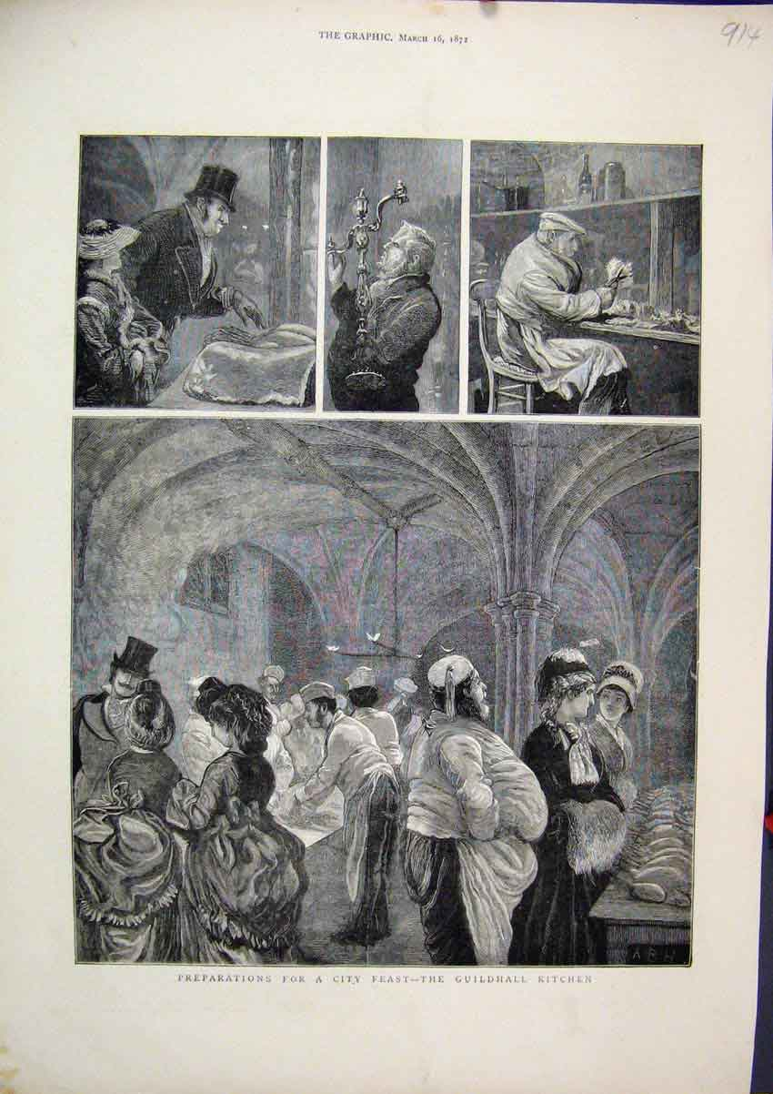 Print Preparations City Feast 1872 Guildhall Kitchen Sketches 14Mar1 Old Original