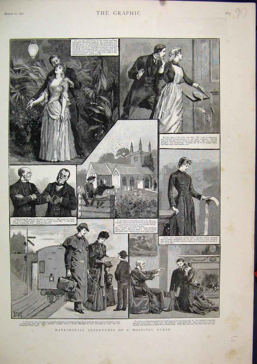 Print 1887 Matrimonial Adventures Hospital Nurse Scenes 17Mar1 Old Original