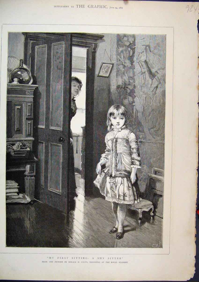Print 1882 Little Girl Babysitter House Scene Horace Cauty 24Mar1 Old Original