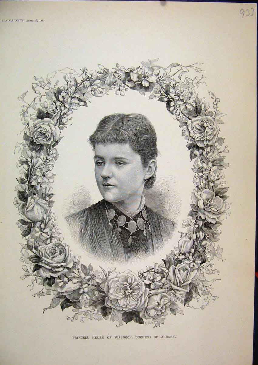 Print 1882 Portrait Helen Waldeck Duchess Albany Flowers 33Mar1 Old Original