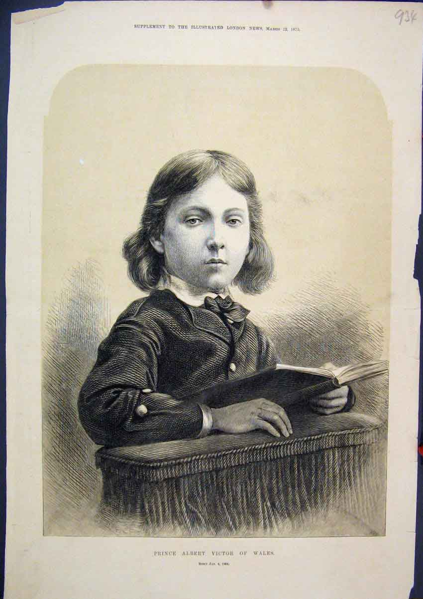 Print 1873 Portait Prince Albert Victor Wales Young Boy 34Mar1 Old Original