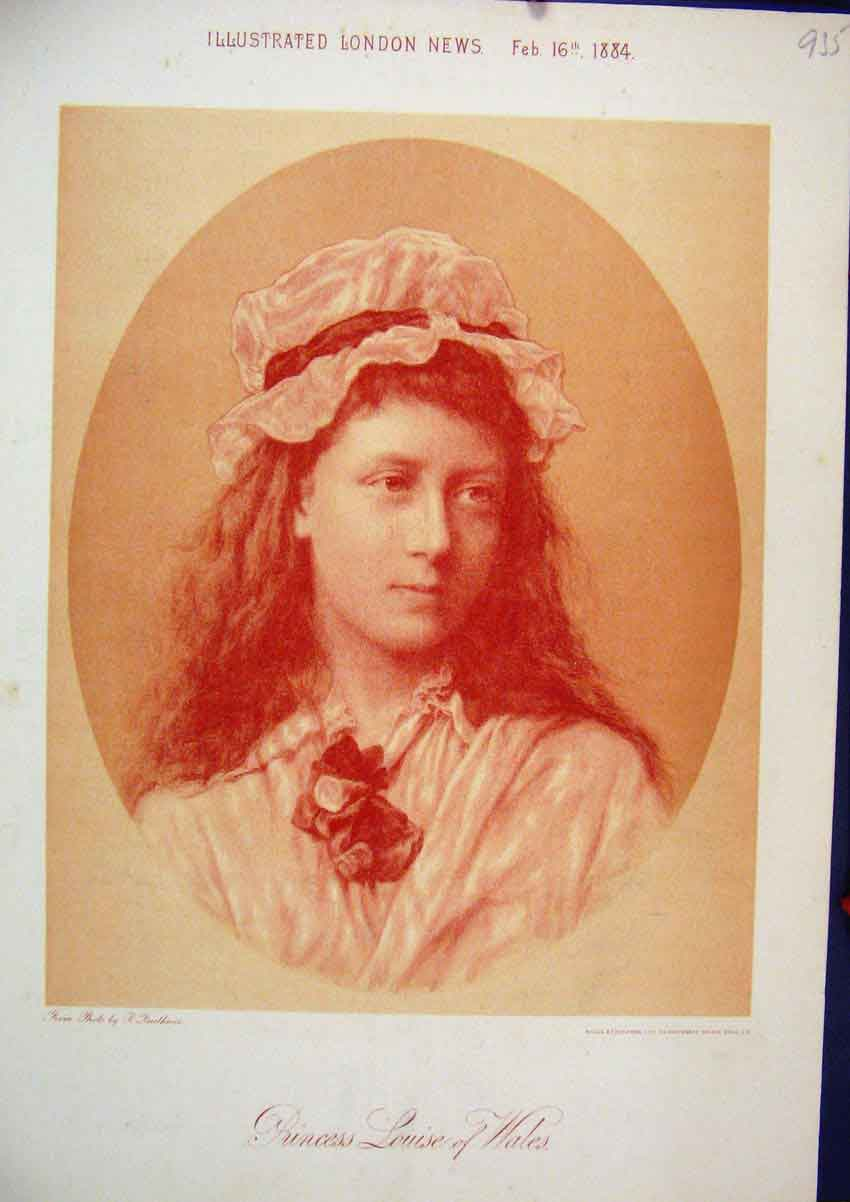 Print 1884 Portrait Sepia Princess Louise Wales 35Mar1 Old Original