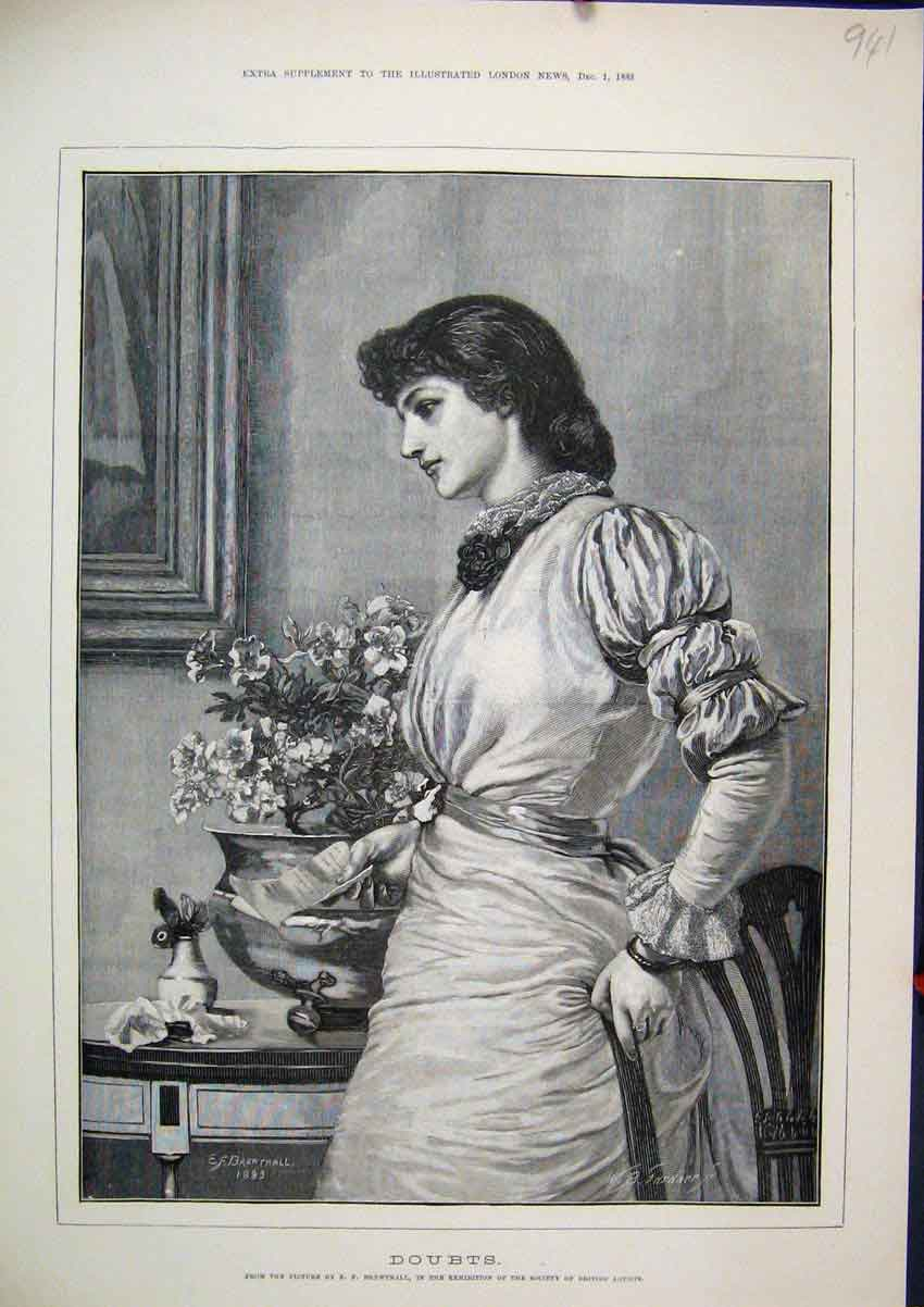 Print 1883 Woman Letter Flower Pot Chair Thoughful 41Mar1 Old Original