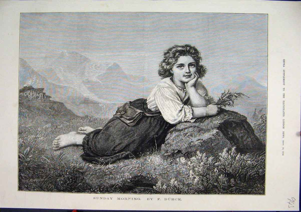 Print 1876 Sunday Morning Young Girl Country Scottish Heather 43Mar1 Old Original
