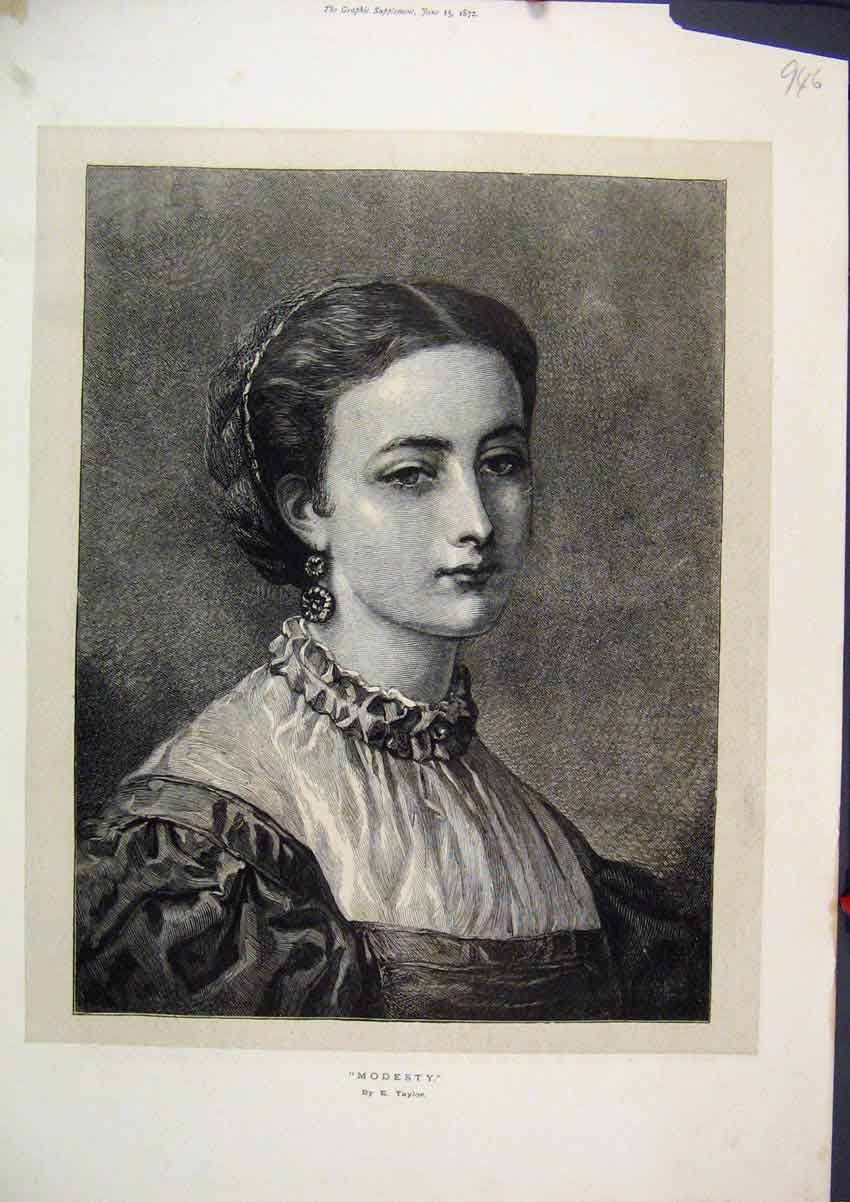 Print 1872 Portrait Beautiful Young Woman Taylor 46Mar1 Old Original