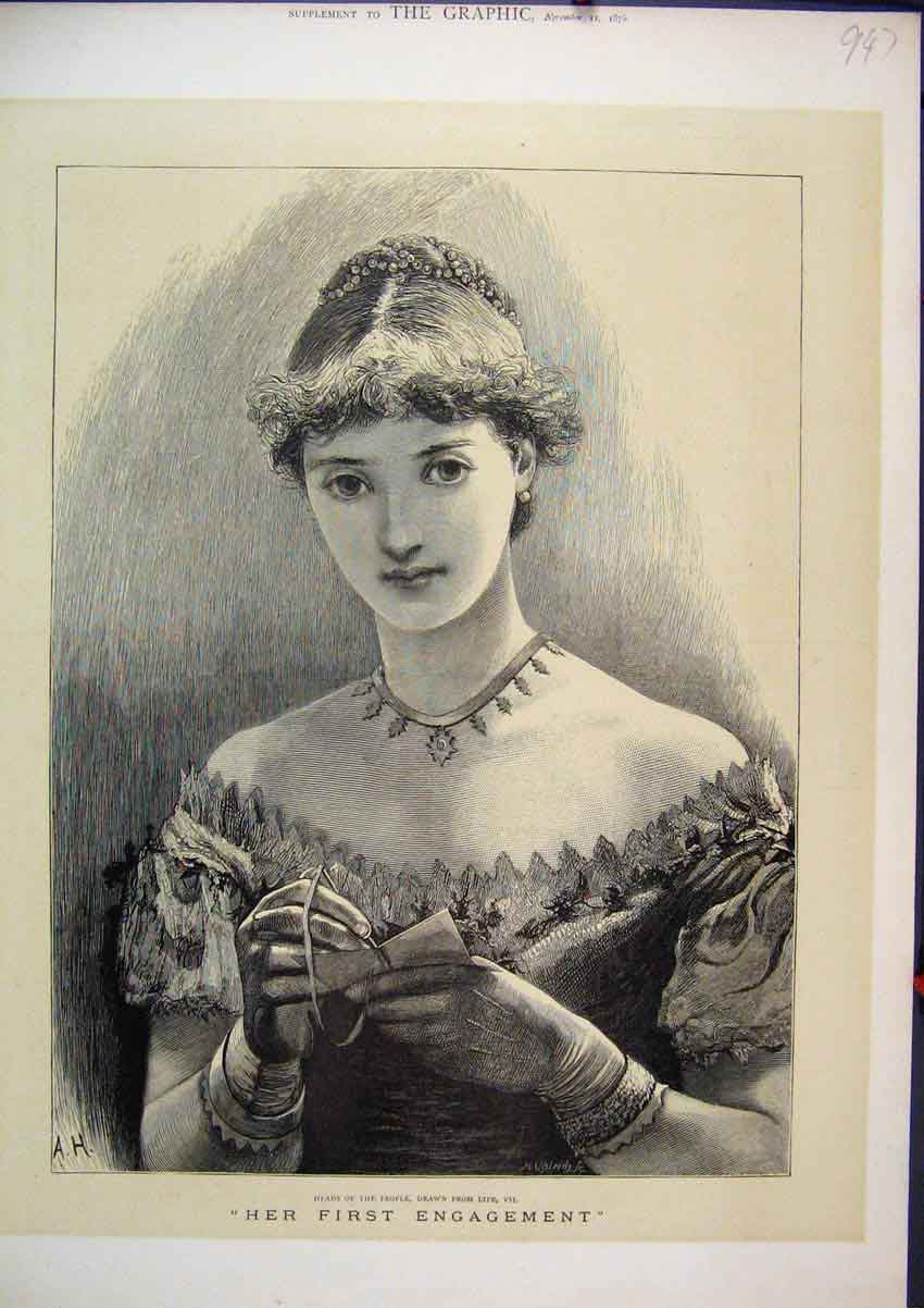 Print 1875 Portrait Young Woman First Engagement Book Pen 47Mar1 Old Original