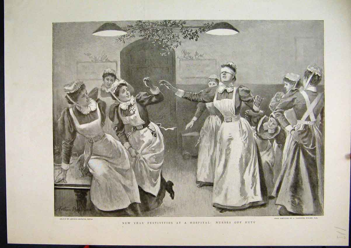 Print New Year Celebrations 1896 Hospital Nurses Play Game 13Mar1 Old Original
