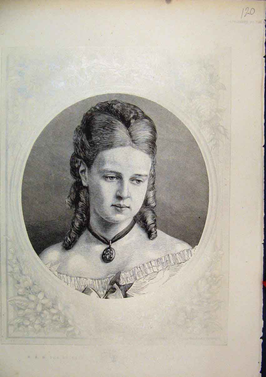 Print Portrait Duchess Edinburgh C1850 Necklace 20Mar1 Old Original