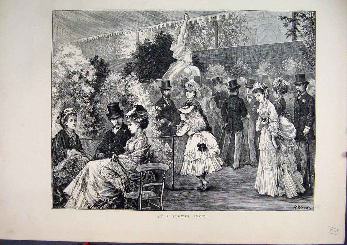 Print 1872 Flower Show Family Statue Beautiful Dresses 21Mar1 Old Original