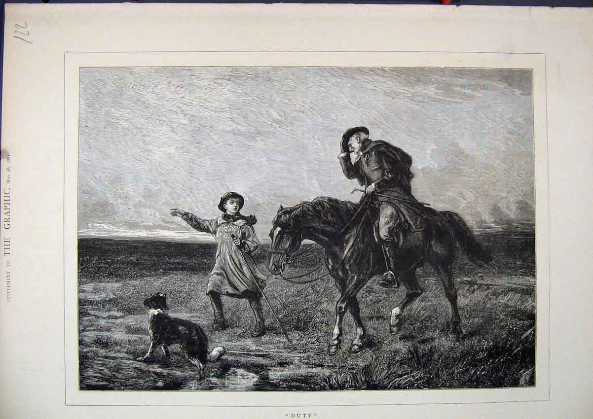 Print Man Horses Dog Young Boy 1881 Country Scene 22Mar1 Old Original