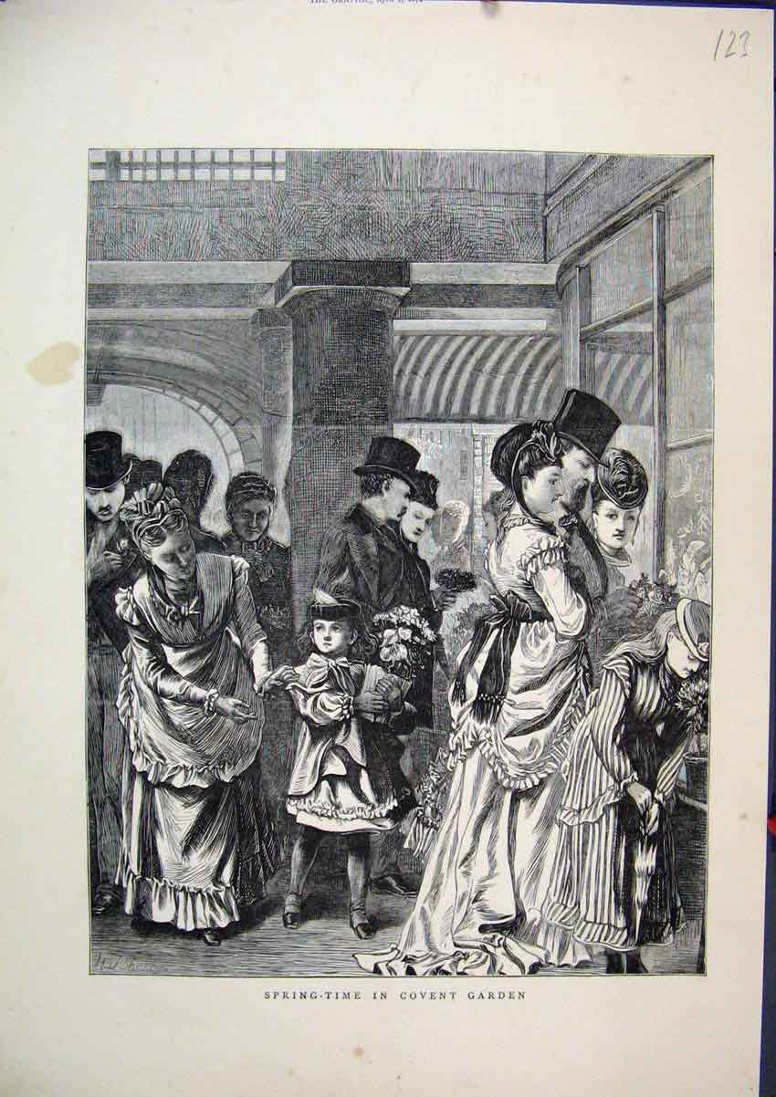 Print 1871 Spring-Time Covent Garden Flowers Families 23Mar1 Old Original