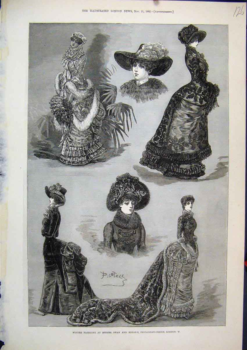 Print 1882 Winter Fashions Messr Swan Piccadilly-Circus 26Mar1 Old Original