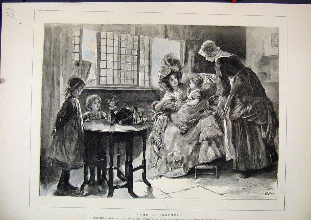 Print Family Scene C1850 Woman Sitting Baby Children Fine Art 27Mar1 Old Original