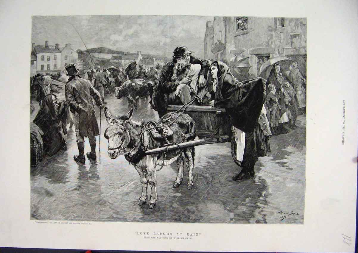 Print C1850 Street Scene Rain Donkey Cart Cow William Small 28Mar1 Old Original