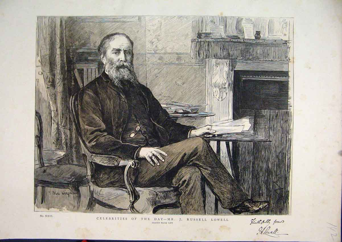 Print 1887 Portrait Russell Lowell Celebrities 42Mar1 Old Original