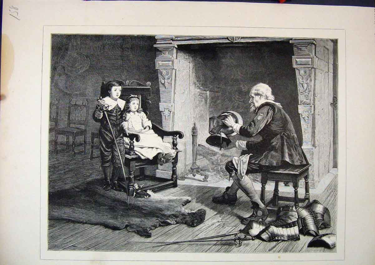 Print 1879 Young Boy Girl Story Telling Fire-Side Fine Art 58Mar1 Old Original