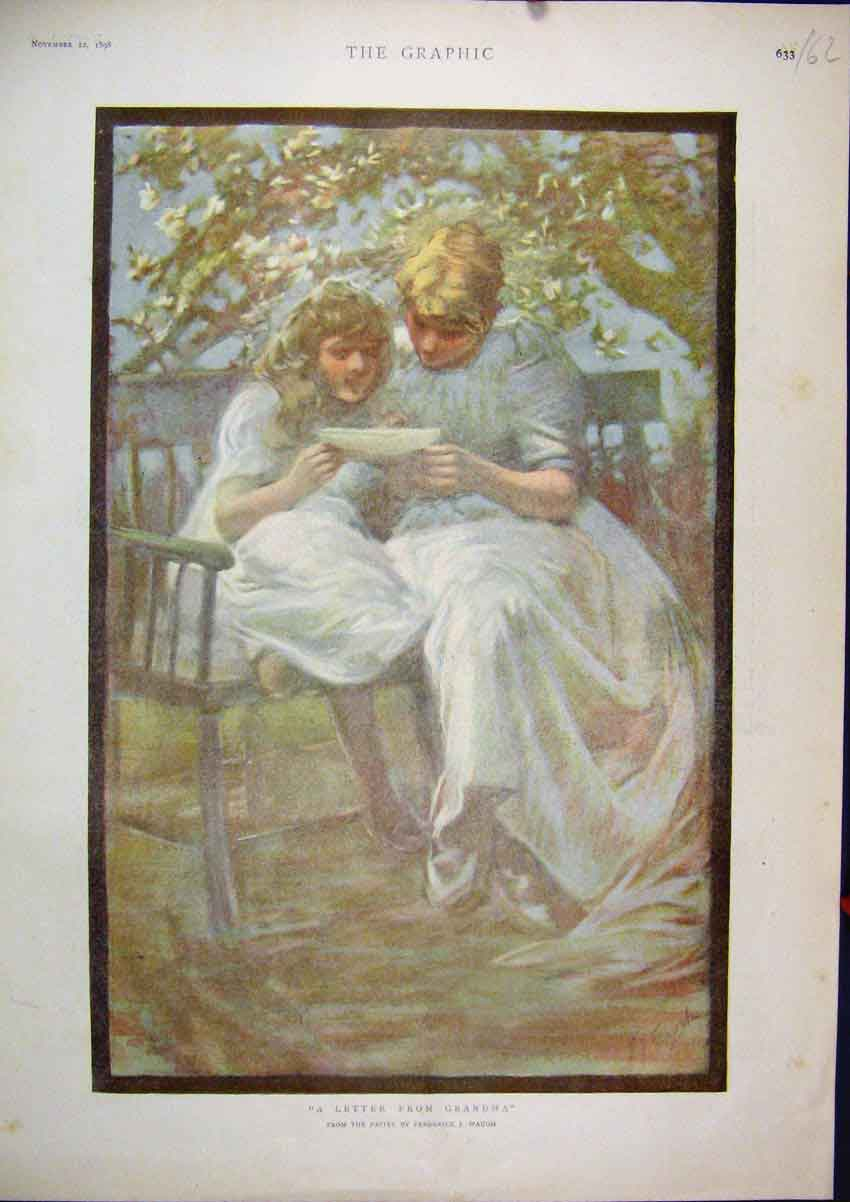Print 1898 Colour Girls Reading Letter Bench Country 62Mar1 Old Original