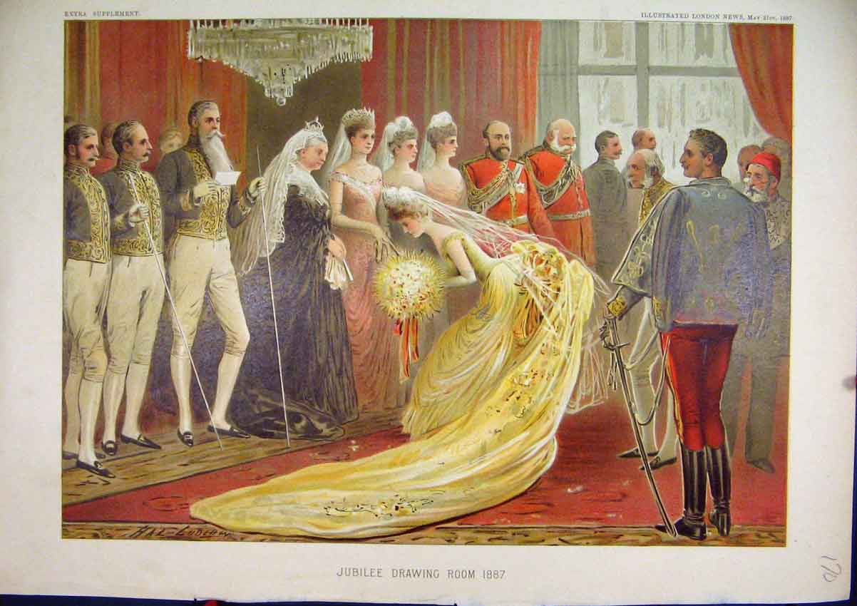 Print 1887 Colour Queens Jubilee Drawing Room 70Mar1 Old Original