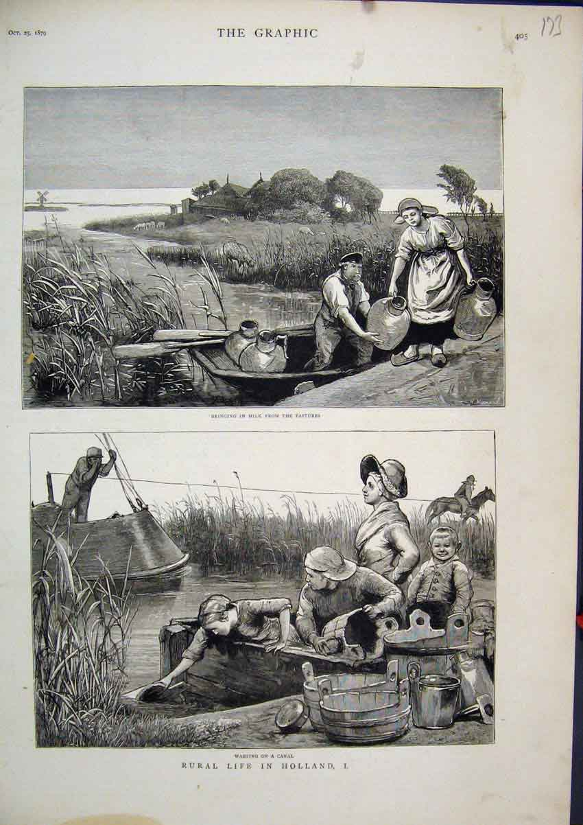 Print 1879 Holland Washing Canal Bringing Milk Boat River 73Mar1 Old Original