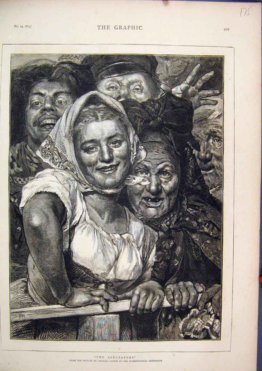 Print 1874 Ugly People Charles Glasgow Exhibition 75Mar1 Old Original