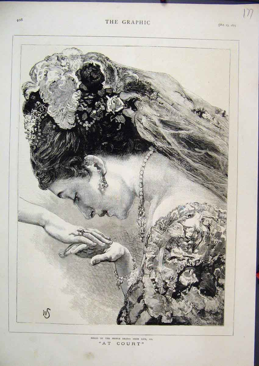 Print Portrait 1875 Woman Headress Hands 77Mar1 Old Original