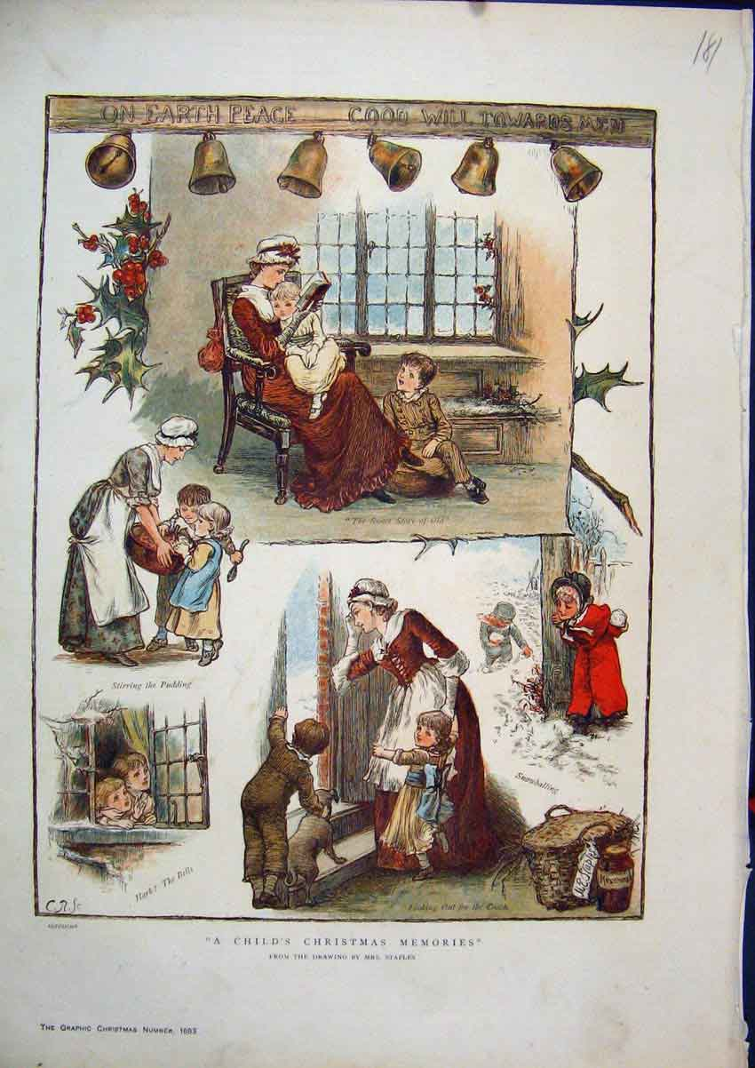 Print 1883 Colour Christmas Scenes Reading Story Snow 81Mar1 Old Original