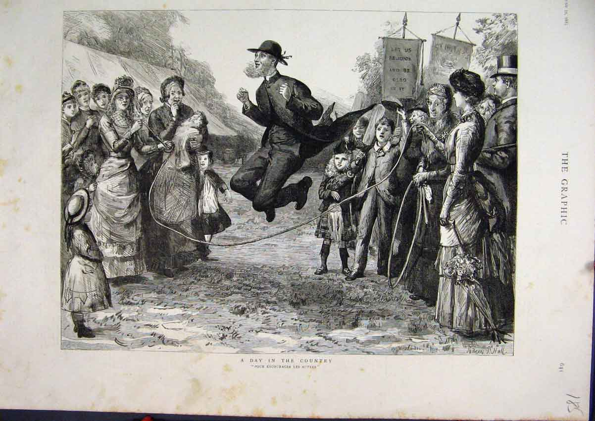 Print 1885 Day Country Man Skipping Autres Minister 85Mar1 Old Original