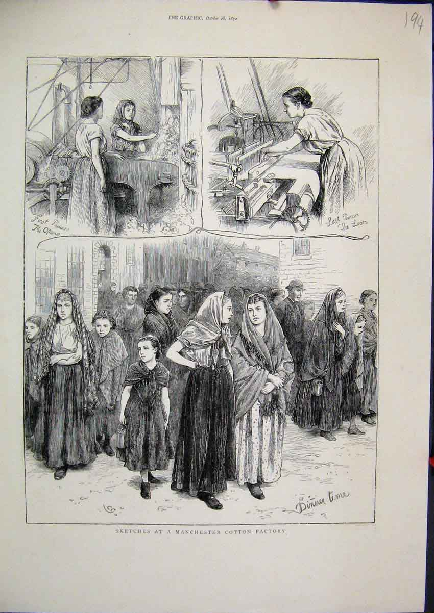 Print Sketches Manchester Cotton Factory 1872 Women Working 94Mar1 Old Original