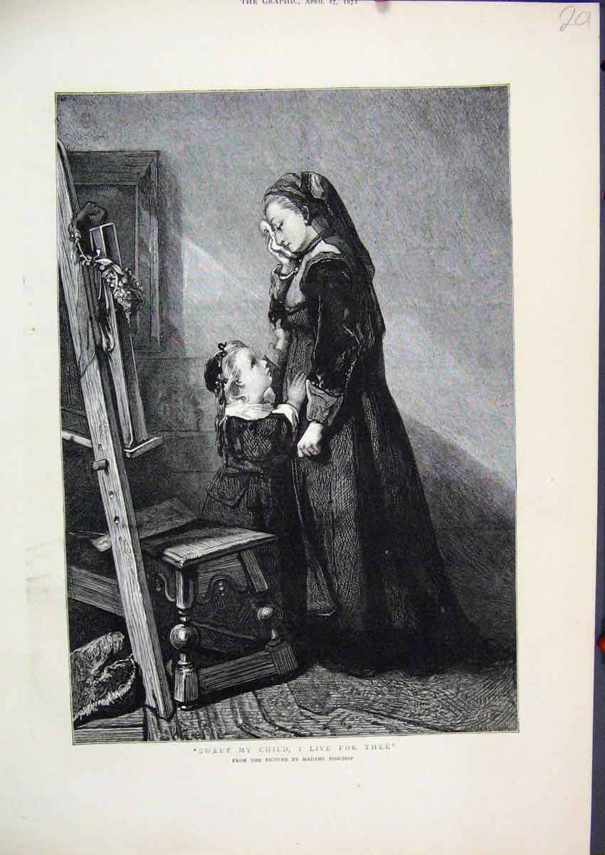Print 1872 Madame Bisschop Woman Little Girl Fine Art 01Mar1 Old Original