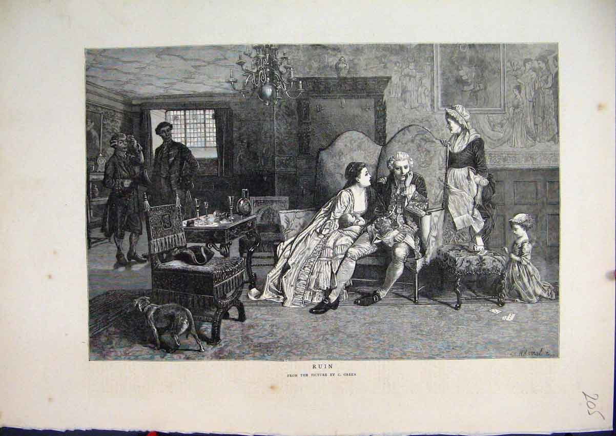 Print 1871 Dining Room Scene Romance Dog Table Chair 05Mar1 Old Original