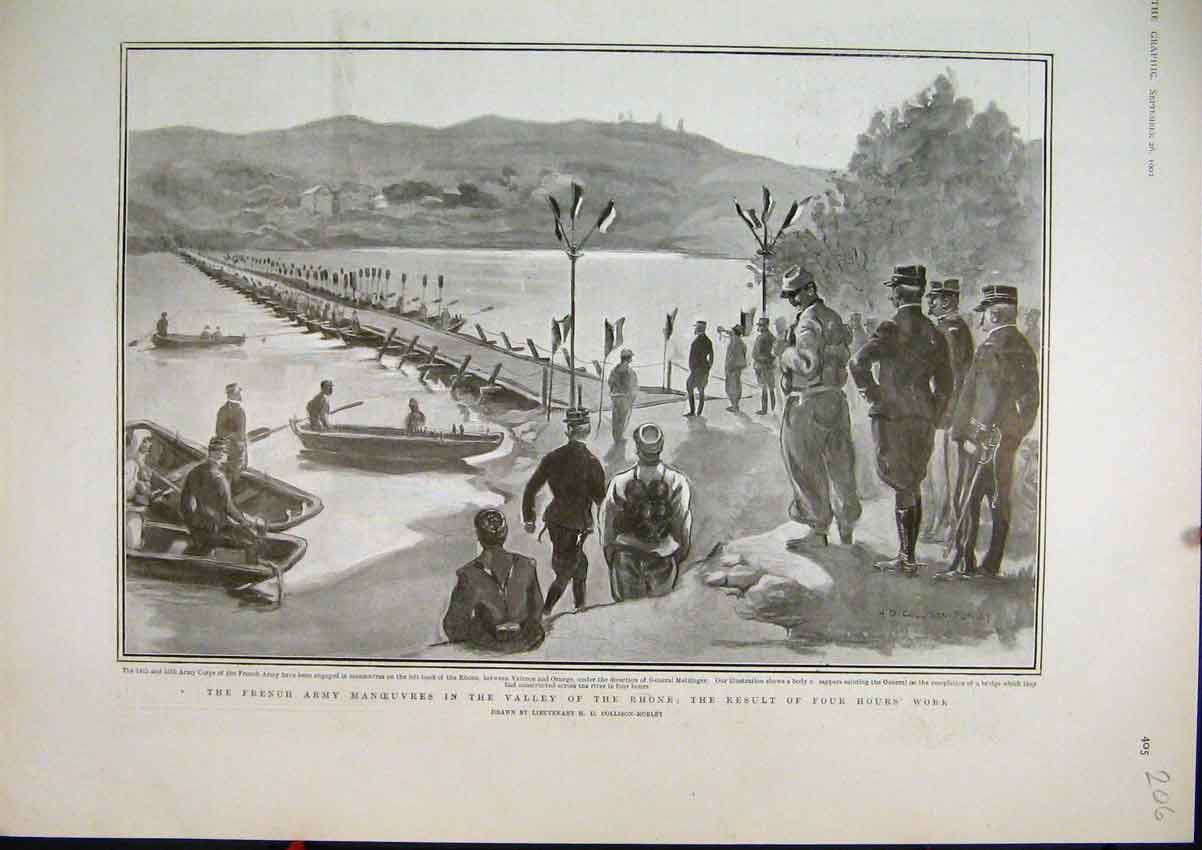 Print French Army Manoeuvres Valley Rhone 1903 River 06Mar1 Old Original