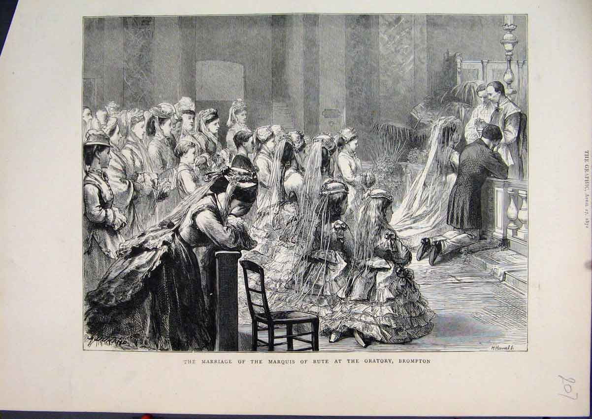 Print 1872 Marriage Marquis Bute Oratory Brompton 07Mar1 Old Original
