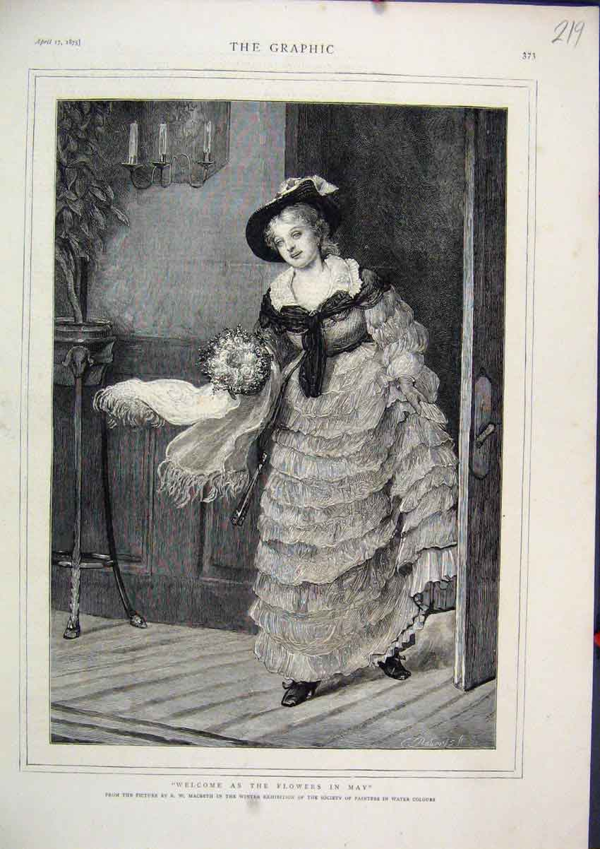 Print 1875 Woman Carrying Flowers Beautiful Dress 19Mar1 Old Original