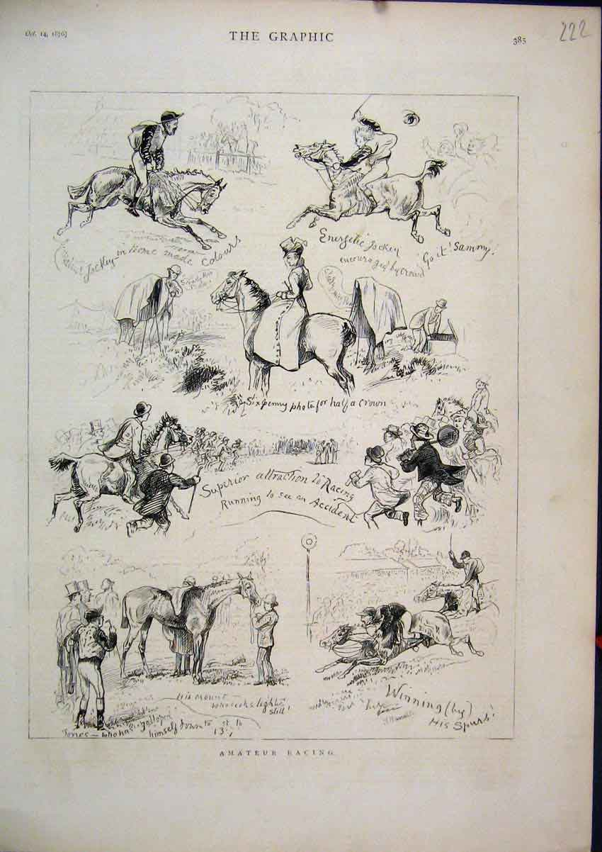 Print 1876 Comedy Scenes Amateur Racing Horses Jumping 22Mar1 Old Original