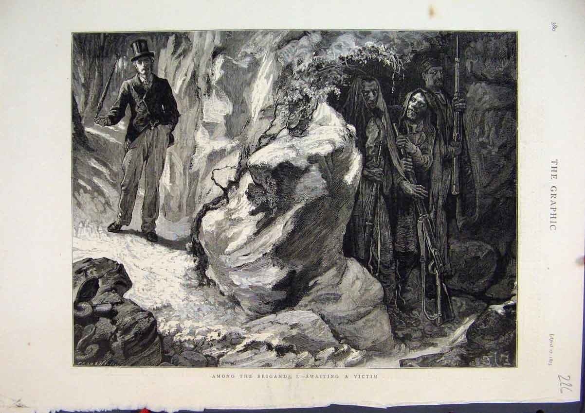 Print 1875 Brigands Man Cave Victim Rifles 26Mar1 Old Original