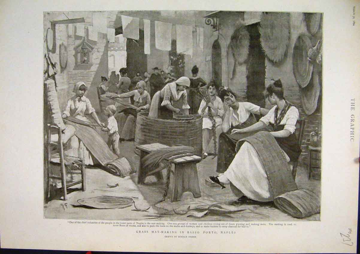 Print Grass Making Basso Porto Naples 1894 Women Working 37Mar1 Old Original