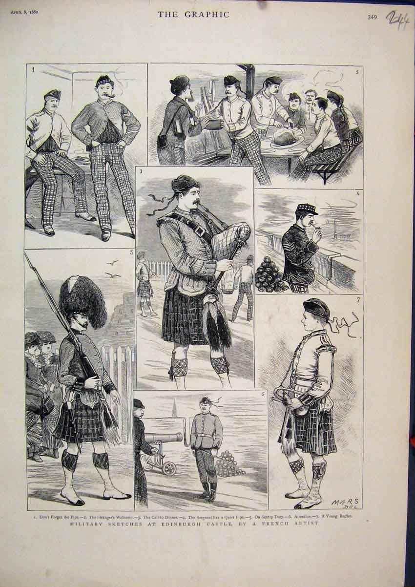 Print 1882 Militray Sketches Edinburgh Castle Kilt Bagpipes 44Mar1 Old Original