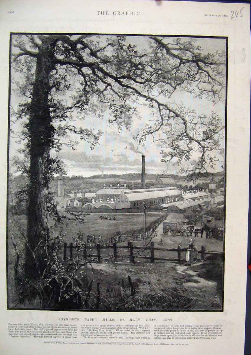 Print 1890 Joynson Paper Mills Mary Cray Kent Country Scene 45Mar1 Old Original