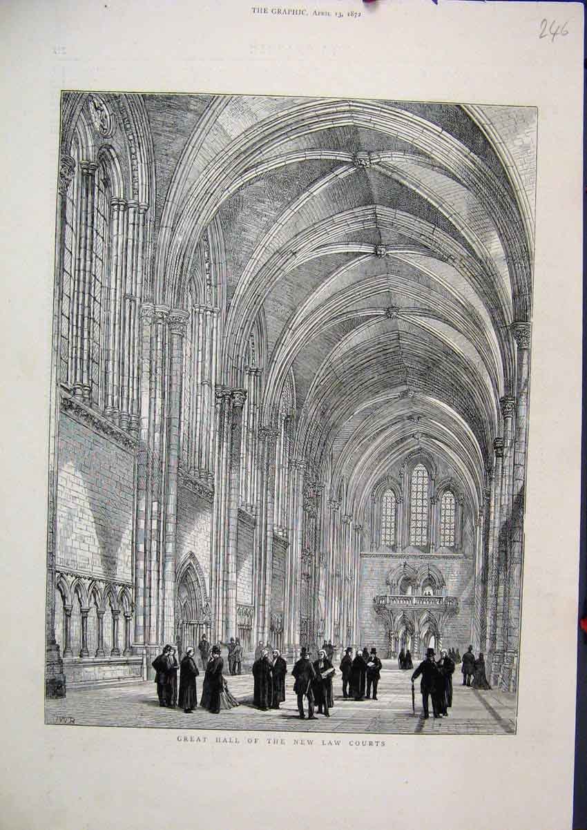 Print 1872 Great Hall New Law Courts Building 46Mar1 Old Original