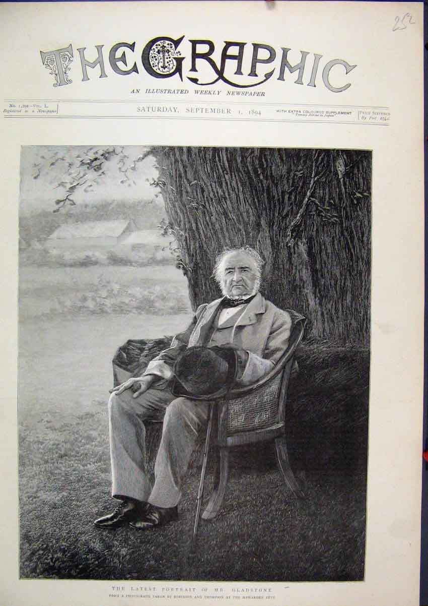 Print 1894 Portrait Mr Gladstone Sitting Chair Tree 52Mar1 Old Original