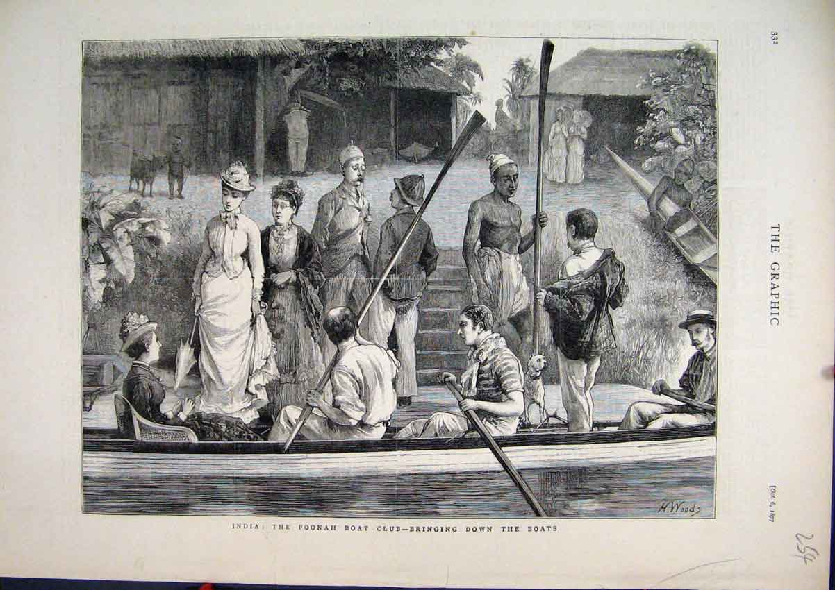 Print 1877 India Poonah Boat Club River Women 54Mar1 Old Original